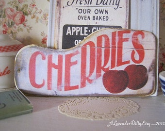 Vintage Cherries Sign for Dollhouse