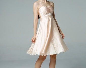 Champagne Wedding dress party dress bridesmaid dress Prom handmade knee length formal dress - NC522