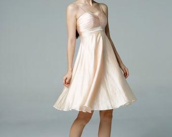 Champagne Wedding dress party dress bridesmaid dress Prom handmade knee length formal dress - NC522