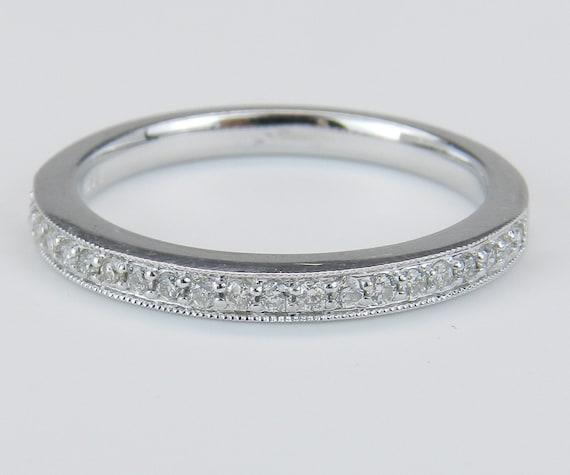 Diamond Wedding Ring Anniversary Band Size Pave-Set 14K White Gold Natural