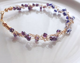 Petite Beaded Gold Wire Lace Bracelet Knit Crochet Wire Blue Purple Colorblocked Twisted