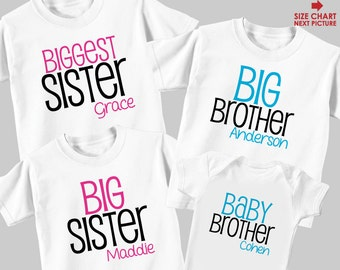 Biggest Sister Shirt, Big Brother Shirt, Big Sister Shirt & Baby Shirt or Bodysuit - 4 Personalized Sibling Shirts