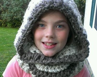 FREE SHIPPING - Crochet Cozy Hooded Cowl-Hooded Scarf-Neck Warmer-In Oatmeal Wheat Barley Color-One Size Fits Most- Photo Prop