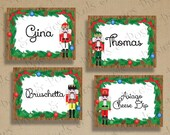 Printable DIY Christmas Holiday Nutcracker Tent Cards - Place Cards - Place Card Holders - Menu Cards - Labels