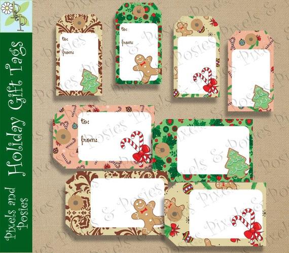 Printable diy sweet treats holiday christmas xmas gift tags 48