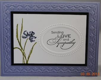 Handcrafted Purple Floral Thinking of You, Sympathy Card