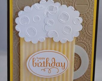 Handcrafted Masculine Beer Mug Birthday Card/Invitation
