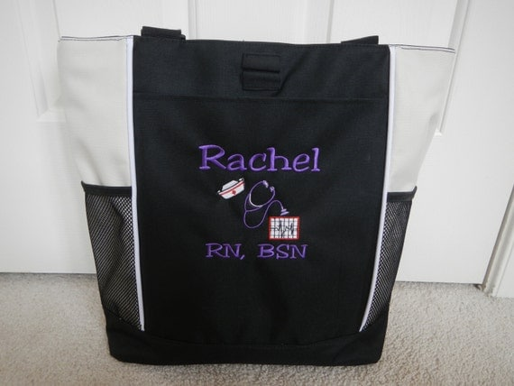 tote bag personalized hat nursing rn cna cvn by