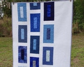 "Modern Blues Baby Quilt 35"" X 40"""