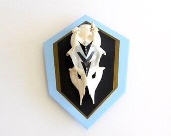 SKY BLUE & BLACK chevron geometric aztec triangle arrow painted mount deer skull and antlers horns - taxidermy unusual animal art decor