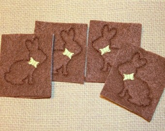 Chocolate bunny feltie with bow for Easter, Chocolate bunny felt stitchies, set of 4 on brown felt for scrapbooking and hair accessories