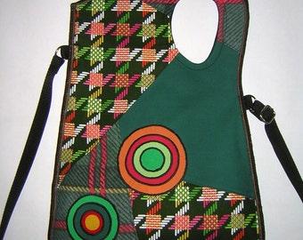 Houndstooth Haversack MEDIUM CANVAS BAG sling bag travel tote purse Crossbody Bag mixed fabrics in Dark Green Black Colors  with Circles