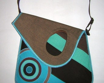2in1 MEDIUM CANVAS BAG Sling Bag haversack  Cross Body Purse Hip bag Travel Tote striped mixed fabrics in  Turquoise-Brown  with Circles