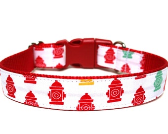 """Boy Dog Collar 1"""" Fire Hydrant Dog Collar"""