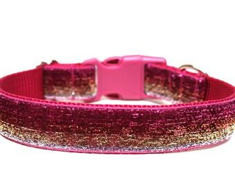 """Pink Dog Collar 1"""" Glitter Dog Collar"""
