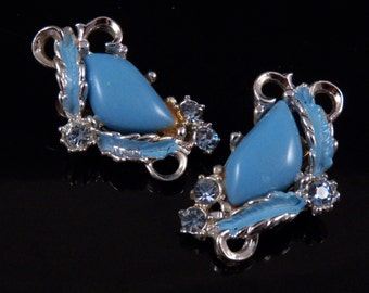 Vintage Clip On Earrings - Blue Crystal Rhinestones Earrings - Clip On Jewelry - Blue Jewelry - Fancy Earrings - Costume Jewelry Free Ship