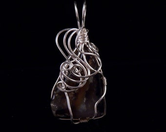 Wire Wrapped Stone Pendant Wire Wrapped Stone Necklace Natural Stone Jewelry Costume Jewelry Handmade In Montana Free Shipping Made in USA