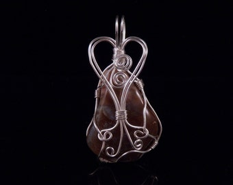 Wire Wrapped Stone Pendant Wire Wrapped Stone Jewelry Natural Stone Pendant Costume Jewelry Handmade In Montana Free Shipping Made in USA