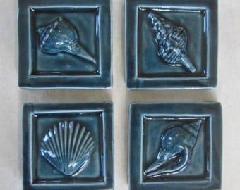 Seashell accent tile -- Nairobi Blue 2x2 accent tile, bathroom tile, scallop shell, beach, ocean seashore, IN STOCK