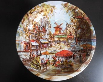 Stunning and Colorful Tin Decorative Bowl Platter of Parisian Street Scene - Moulin Rouge - Made in England