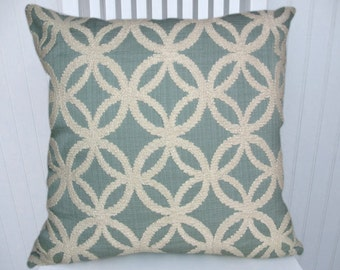 Blue Chenille Pillow Cover--Embroidered White Chenille Geometric Design---18x18 or 20x20 or 22x22 or Lumbar Pillow Cover