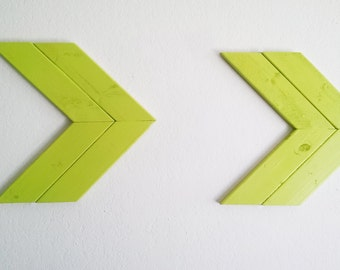 Wood Double Arrow Chevron Wall Decor in Neon Green
