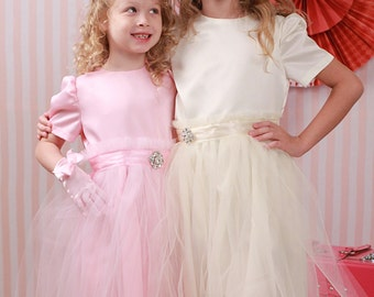 Pink Or Ivory Satin Tea Party Dress with Tulle Sash