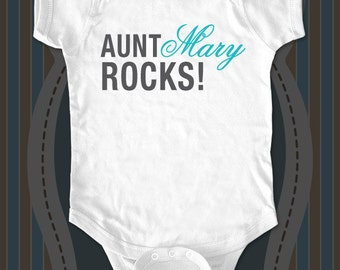 Aunt or Uncle Rocks - Custom cute funny baby one piece bodysuit, infant, toddler, youth shirt