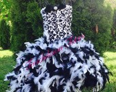 Black and white feather dress