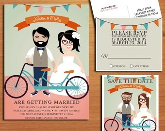 Hipster Wedding Collection / Invitation / RSVP / Save the Date Postcard PRINTABLE / DIY