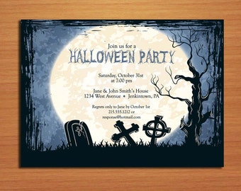 Midnight Graveyard Halloween Party Customized Printable Invitations /  DIY