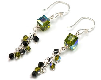 Moss Green Cube Earrings | Made with Swarovski Crystals | Cluster Dangle Earrings Sterling Silver ES117