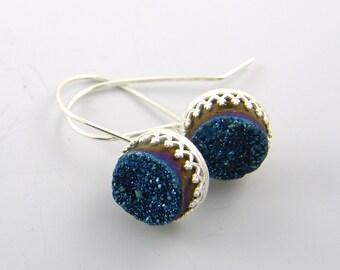 Blue Druzy Earrings, Druzy Drop Earrings, Gemstone Earrings, Silver and Blue Earrings Sterling Silver Geode Jewelry |EC2-12