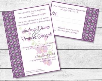 Argyle Orchid Golf Wedding Invitation Suite / Graphite Grape Invitation / Preppy Invitation