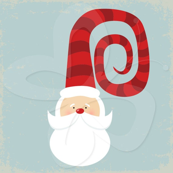 Santa Face with Funny Hat Clip Art Clipart by ...