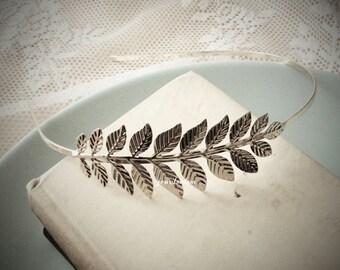 Silver Headband For Wedding Bride Hair Band Festival Bridal Headpiece with Leaf Rustic Leaves Branch Twig Romantic Woodland Modern