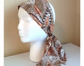 Vintage Headscarf Peach Paisley Tan head scarf neck