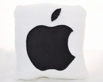 Decorative Pillow - Apple Pillow - Handmade Pillow - 12x12 White Geekery Pillow