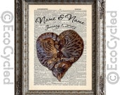Heart Shaped Cats Customized with Names & Date on Vintage Upcycled Dictionary Art Print Book Anniversary Wedding Love Romance Cat Lovers