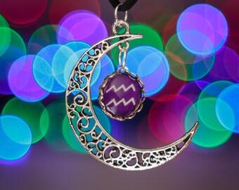 Aquarius Zodiac Moon Necklace