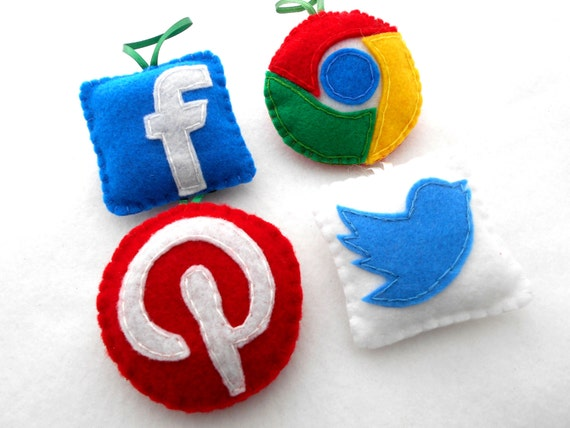 4 Felt ornaments App NERD Geek Techie IT Online  Handmade Ornaments Set of 4 NEW Boxed  Google Twitter pinterest Facebook