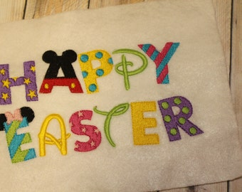 Happy Easter in Mouse embroidery design instant download
