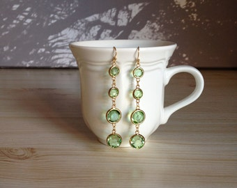Gorgeous Green Glass Gold Earrings