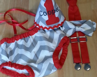boy cake smash outfit, gray chevron birthday outfit, gray and red cake smash outfit for boy, hat bow tie suspenders and diaper cover