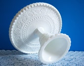 """Duncan Miller Cake Stand - Duncan and Miller """"Sandwich"""" Cake Stand - Wedding Cake Stand - Large Milk Glass Cake Stand - Vintage Wedding"""