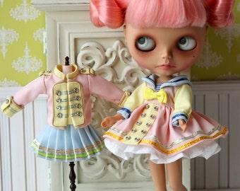 PO - Anniedollz Blythe Sailor Dress Middy Collar - Peach Blush