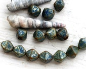 Picasso Dark Blue bicone beads, czech glass, rustic bicones, crystal shape,  8mm - 20Pc - 2093