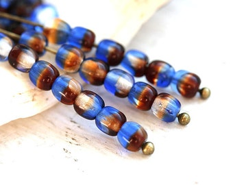 Blue Brown mix, czech glass beads, round spacers, druk - 4mm -  approx.85-90Pc - 0380