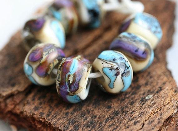 Glass Lampwork beads - Blue, Purple, Beige - handmade organic shaped SRA set, by MayaHoney