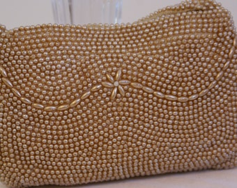 Vtg Unique Faux Pearl Extra-Small Beaded Child's or Lipstick Handbag